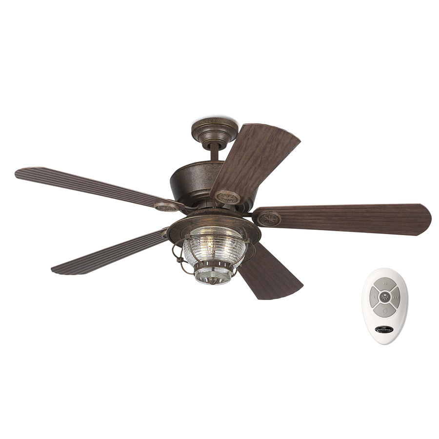 Shop Harbor Breeze 52 In Merrimack Gilded Bronze Outdoor Ceiling Fan With Light Kit At Lowes Com