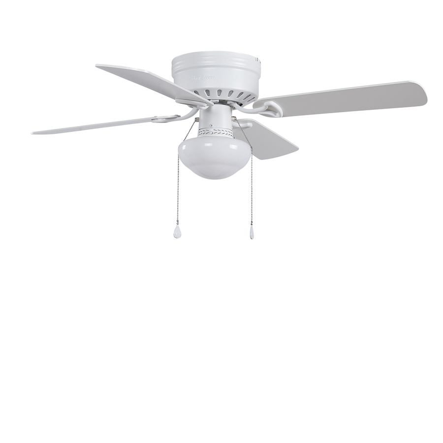 Harbor Breeze Armitage 42 In White Led Indoor Flush Mount Ceiling Fan With Light 4 Blade In The Ceiling Fans Department At Lowes Com