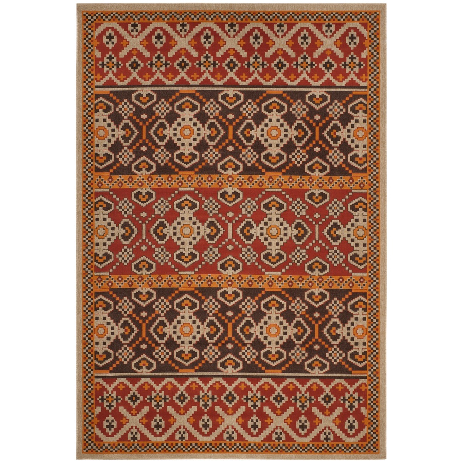 Safaviehsafavieh Veranda Numa 7 X 10 Red Chocolate Indoor Outdoor Abstract Coastal Area Rug Polyester Ver093 0332 6 Dailymail