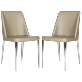 Set of 2 Fox Taupe Side Chairs - Safavieh FOX2012E-SET2
