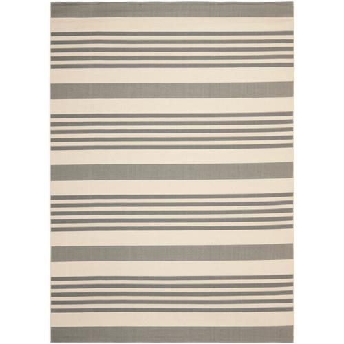 Safavieh Courtyard Dobby Gray/Bone Rectangular Indoor/Outdoor Machine-Made Coastal Area Rug (Common: 9 x 12; Actual: 9-ft W x...