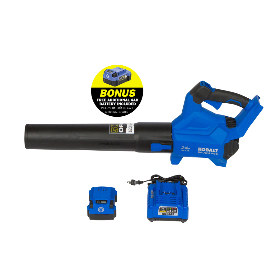 24-Volt 120-MPH Brushless Handheld Cordless Electric Leaf Blower 4Ah (Battery & Charger Included) in Blue | - Kobalt KHB 4224AB-03