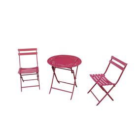 Display Product Reviews For 3 Piece Red Metal Frame Bistro Patio Dining Set