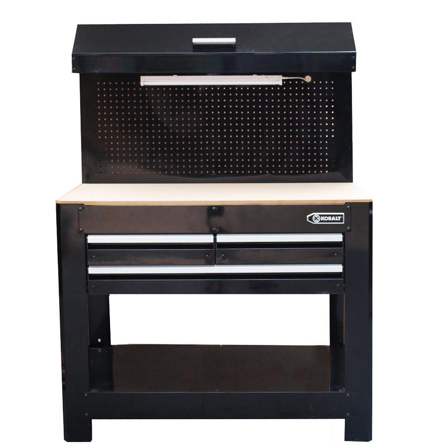Shop Kobalt 36 In 3 Drawer Wood Work Bench At Lowes Com