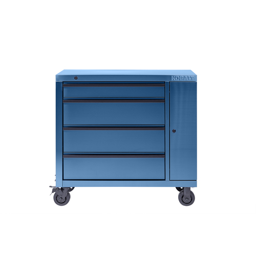 Kobalt 3000 41-in W x 39-in H 4-Drawer Stainless Steel Rolling Tool Cabinet (Blue) 41SSB4DCART