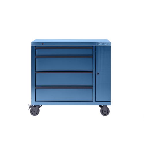 Kobalt 3000 Series 39-in x 41-in 4-Drawer Ball-Bearing Stainless Steel Tool Cabinet (Blue) 41SSB4DCART