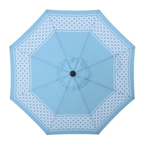 allen + roth Blue Market Patio Umbrella (Common: 9-ft W x 9-ft L; Actual: 8.6-ft W x 8.6-ft L) USA38A278ZT-LS-D