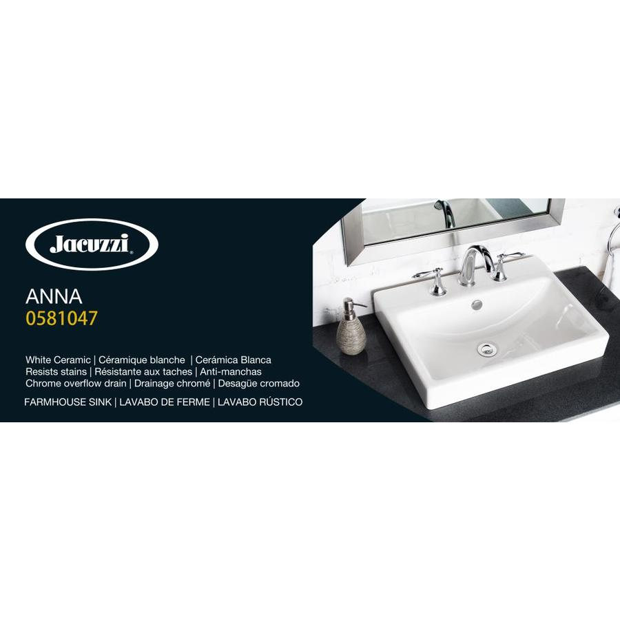 Jacuzzi Anna Farmhouse White Drop In Rectangular Bathroom Sink With Overflow Drain 22 05 In X 16 93 In In The Bathroom Sinks Department At Lowes Com