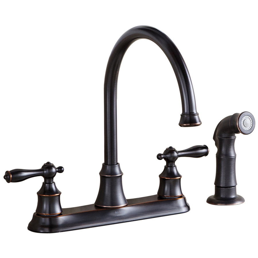 lowes kitchen faucet shop aquasource oil rubbed bronze 2 handle high arc kitchen faucet side with spray at lowes com 6809