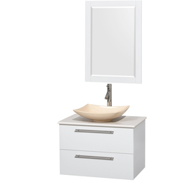 Wyndham Amare Glossy White Single Vessel Sink Bathroom Vani