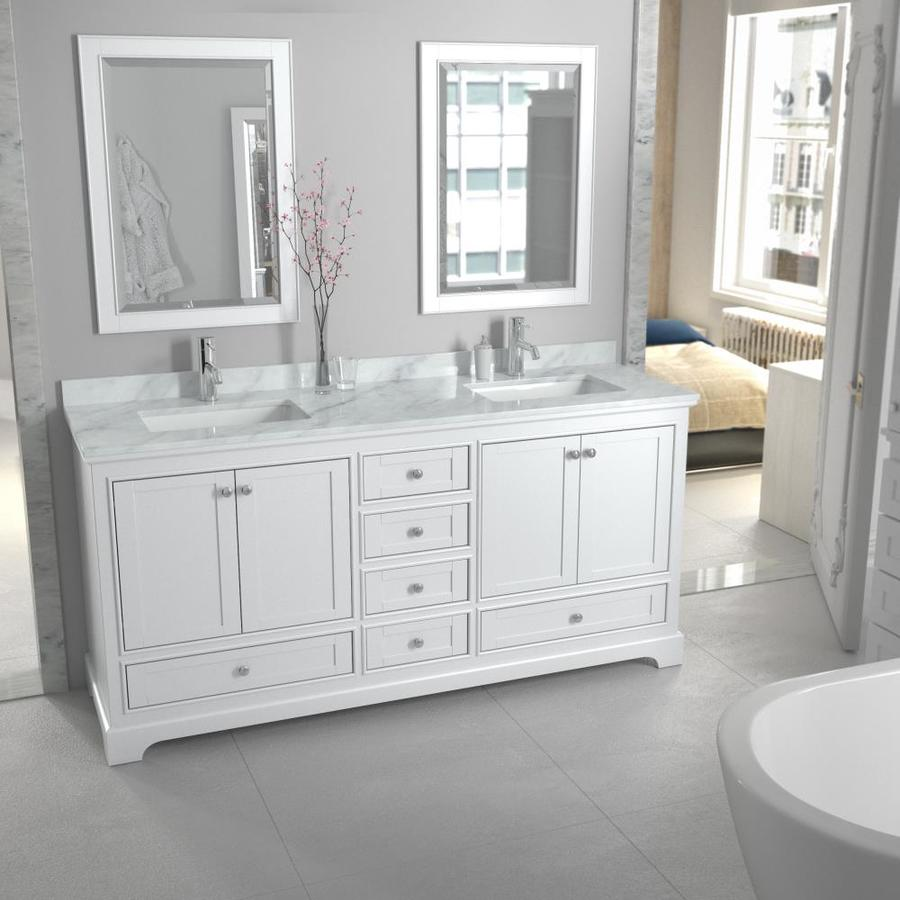 Wyndham Collection Deborah 72 In White Undermount Double Sink Bathroom Vanity With White Carrara Natural Marble Top In The Bathroom Vanities With Tops Department At Lowes Com