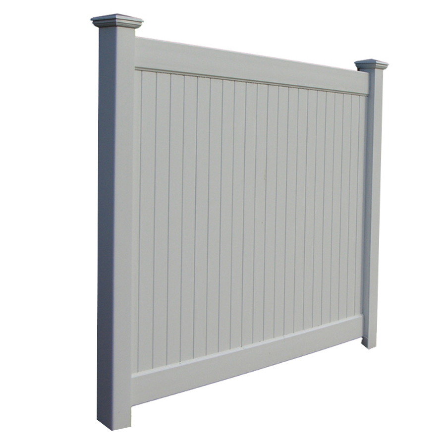 Shop Boundary New York 6 Ft X 8 Ft White Stockade Privacy