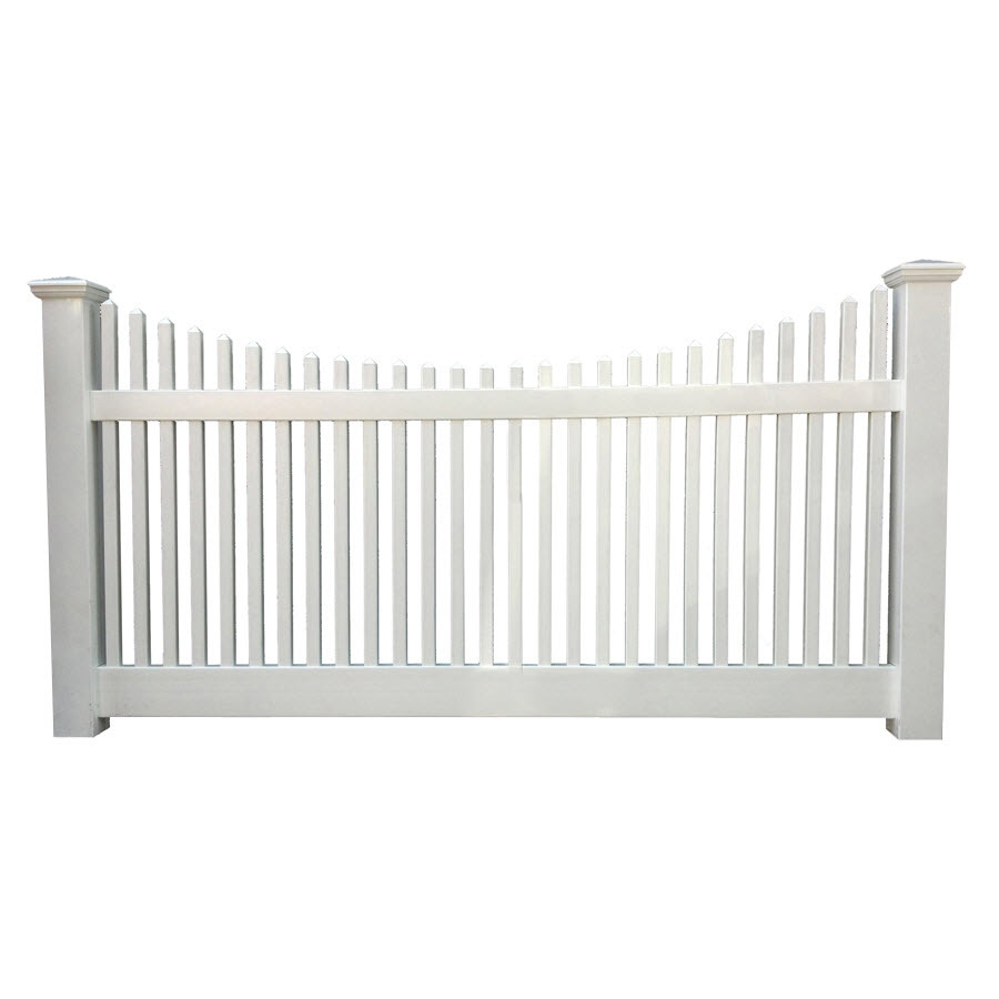 White Vinyl Picket Fence Panels Topfencedesign Us