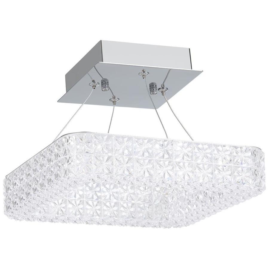 Allen Roth 11 In Chrome Transitional Led Semi Flush Mount Light In The Flush Mount Lighting Department At Lowes Com