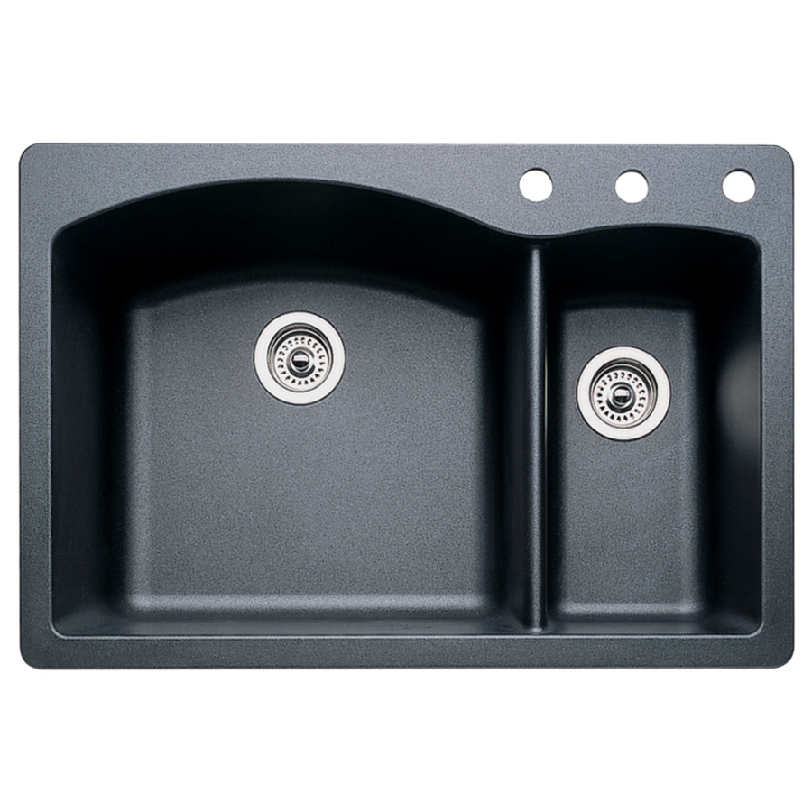 blanco granite sinks shop blanco anthracite basin drop in or 961