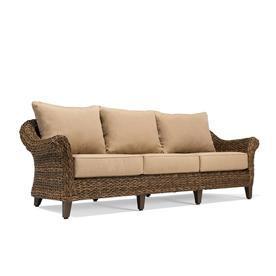 Display Product Reviews For Bahamas Wicker Outdoor Sofa With Solid Canvas  Heather Beige Cushion And Brown