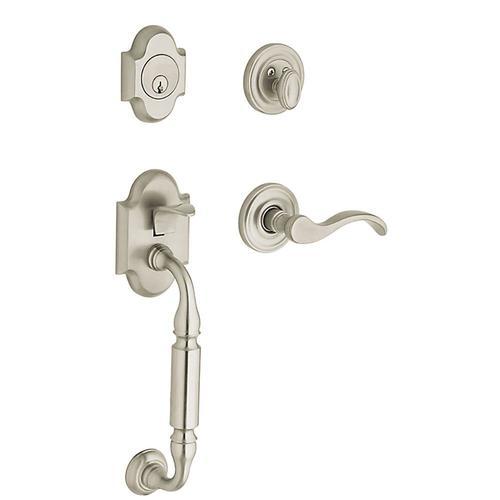 BALDWIN Estate Canterbury Wave Lever Traditional Satin Nickel Single-Lock Keyed Entry Door Handleset 85305.150.LENT