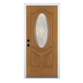 Shop entry doors at lowes display product reviews for willowbrook right hand inswing medium oak stained fiberglass entry door with planetlyrics Choice Image