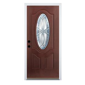 Shop entry doors at lowes display product reviews for terracourt right hand inswing dark mahogany stained fiberglass entry door with eventshaper