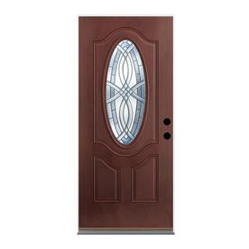 Shop entry doors at lowes display product reviews for terracourt left hand inswing dark mahogany stained fiberglass entry door with planetlyrics Choice Image