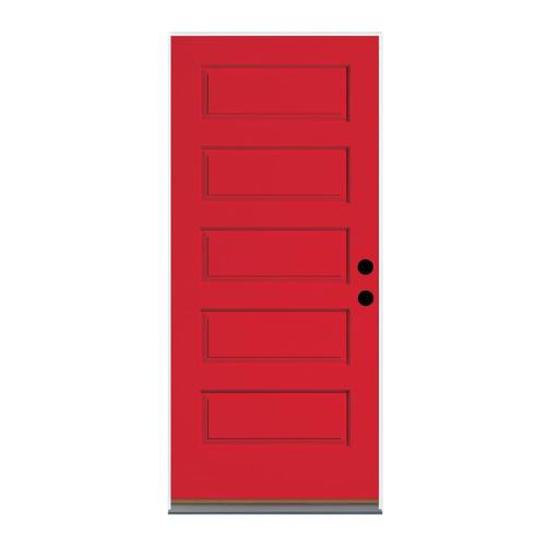 Therma Tru Right Hand Outswing Ruby Red Painted Fiberglass Prehung Entry  Door With Insulating