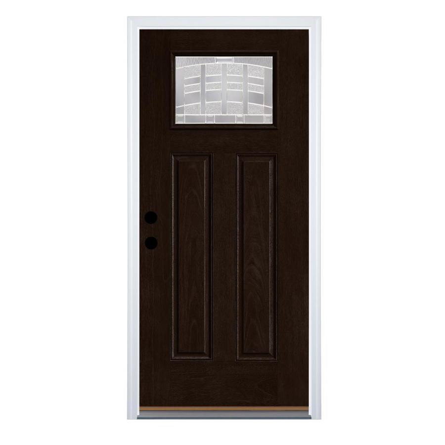 Therma-Tru Benchmark Doors Emerson 36-in x 80-in Fiberglass Craftsman Right-Hand Inswing Dark Elm Stained Prehung Single Front Door with Brickmould -  B6S30MD8RCRZENCZDEDE
