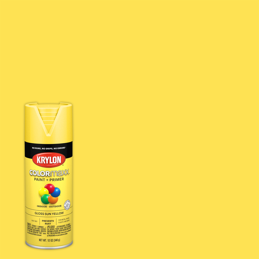 Krylon Colormaxx Gloss Sun Yellow Spray Paint And Primer In One (Actual Net Contents: 12-Oz) K05541007