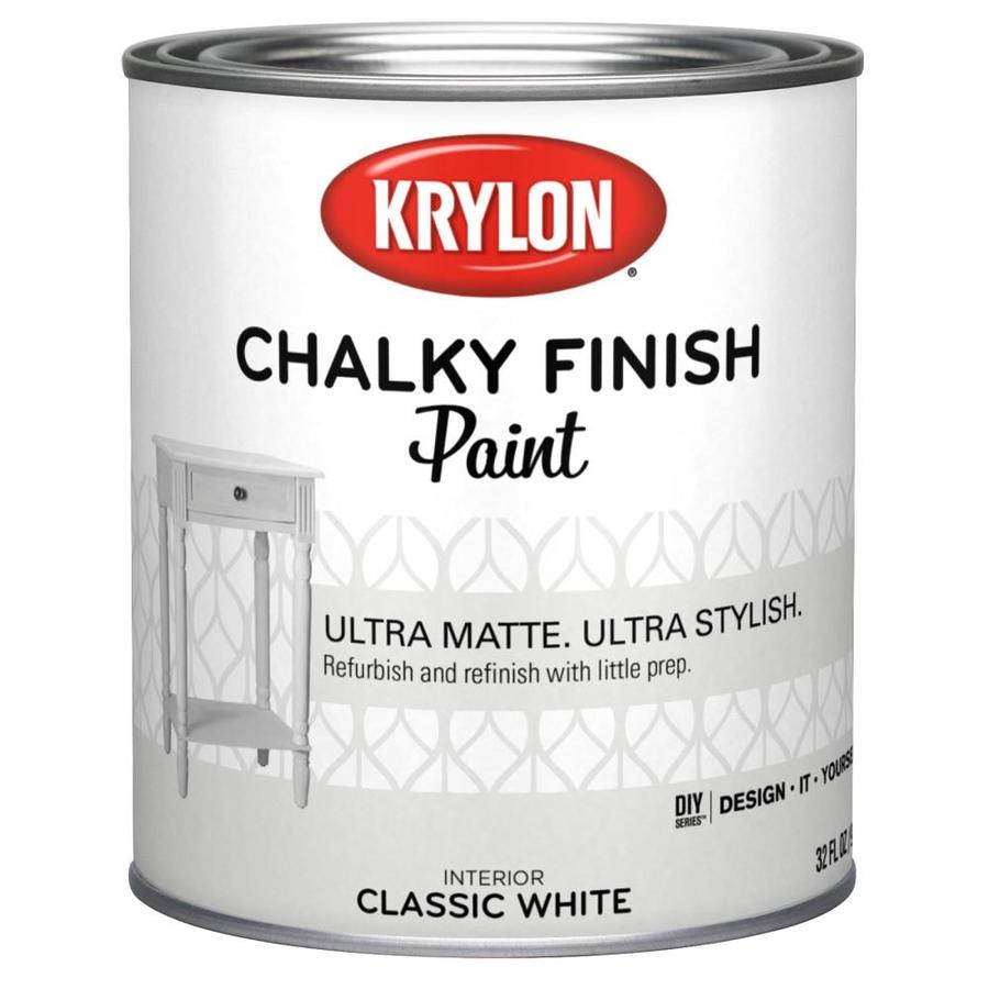 Krylon Classic White Water Based Chalky Paint 1 Quart In The Craft Paint Department At Lowes Com