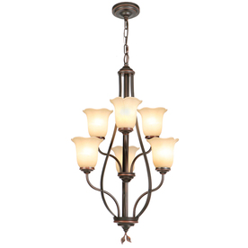 Shop Allen Roth Eastview 22 5 In 6 Light Dark Oil Rubbed Bronze Tinted Glass Standard