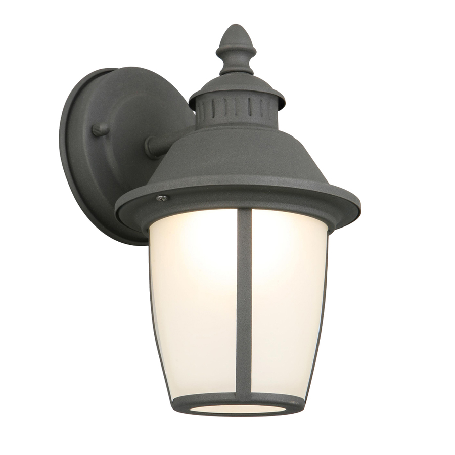 Lowes Lighting Led: Shop Portfolio 9.12-in H Led Black Outdoor Wall Light At