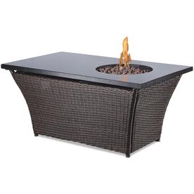 Endless Summer 48-in W 50,000-BTU Black Glass and Dark Brown Wicker Steel Liquid Propane Fire Table GAD17300L