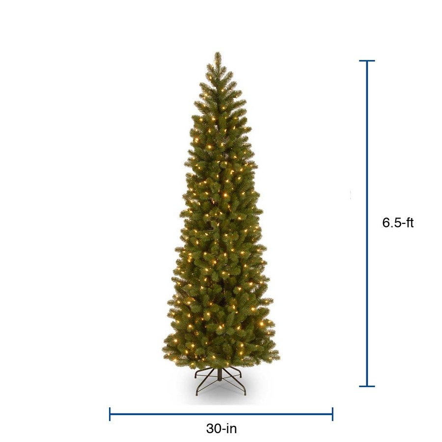 National Tree Company 6 5 Ft Douglas Fir Pre Lit Slim Artificial Christmas Tree With 300 Multicolor Led Lights In The Artificial Christmas Trees Department At Lowes Com