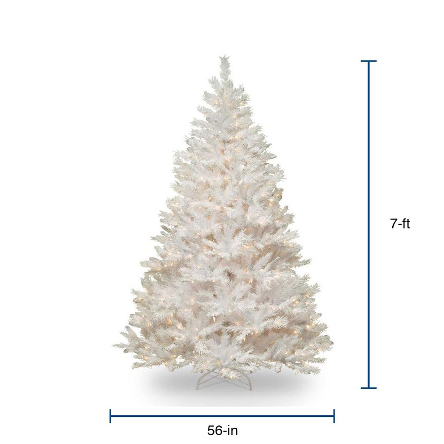 national tree company 7 ft pre lit white artificial christmas tree with 450 constant white clear incandescent lights in the artificial christmas trees department at lowes com lowe s