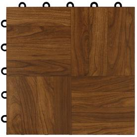 VCT Tile: Greatmats Flooring Max Tile Dark Oak 12 in. x 12 in. x 5/8 in. Vinyl Interlocking Raised Modular Floor Tile (Case of 26) MAXTDOK26