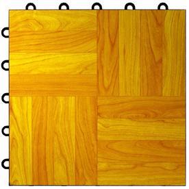 VCT Tile: Greatmats Flooring Max Tile Light Oak 12 in. x 12 in. x 5/8 in. Vinyl Interlocking Raised Modular Floor Tile (Case of 26) MAXTLOK26