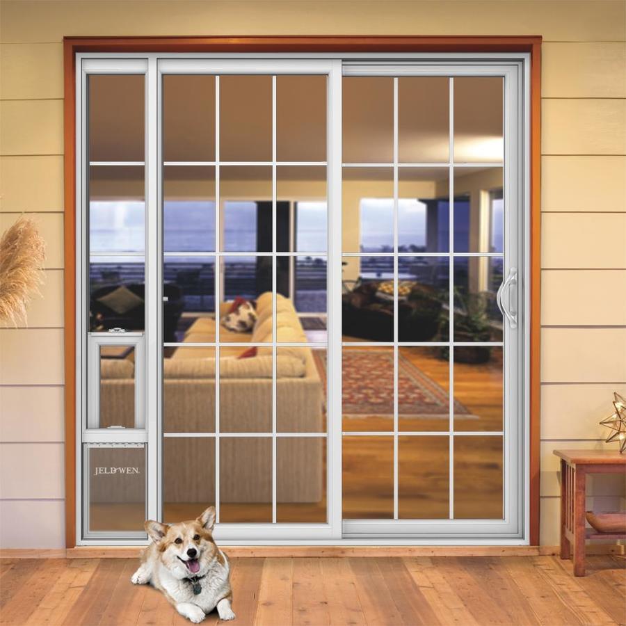 Jeld Wen 72 In X 80 In Grilles Between The Glass White Vinyl Right Hand Double Door Sliding Patio Door With Screen And Pet Door In The Patio Doors Department At Lowes Com