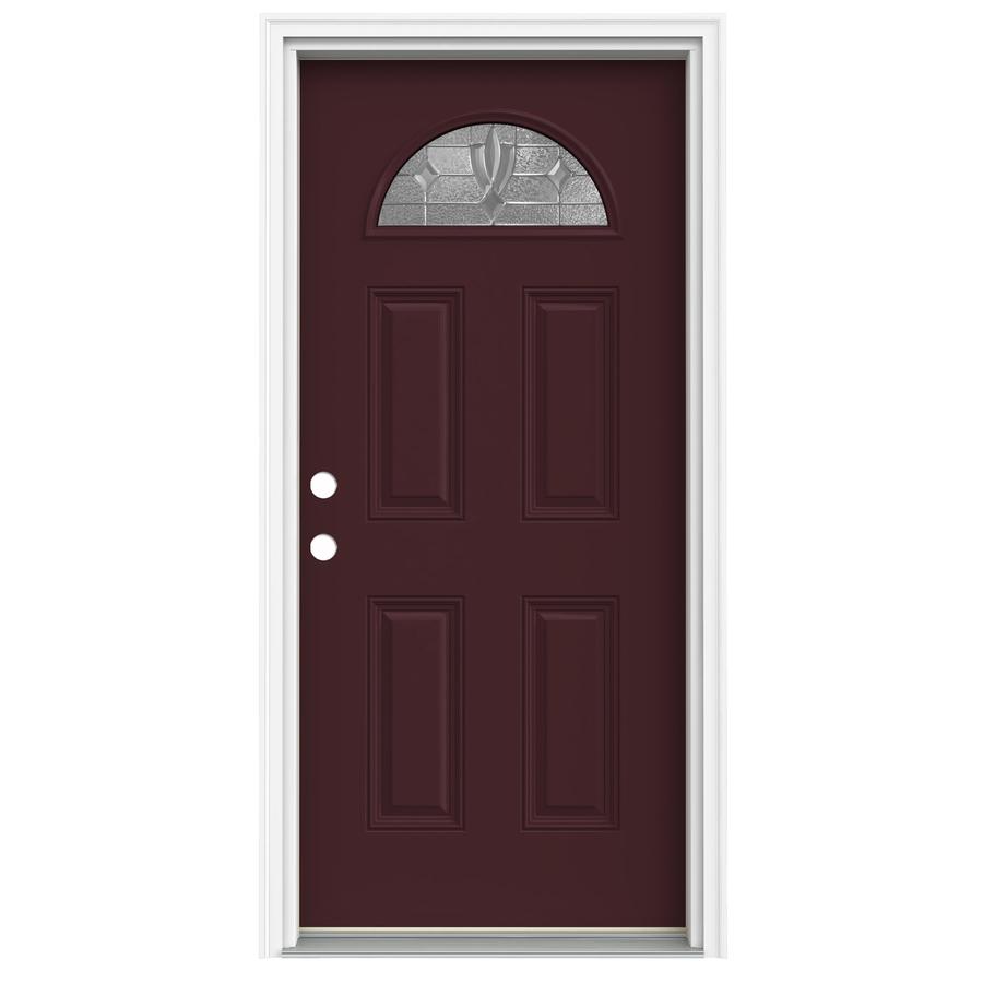 Fiberglass Exterior Doors: Shop ReliaBilt Fan Lite Decorative Currant Prehung Inswing