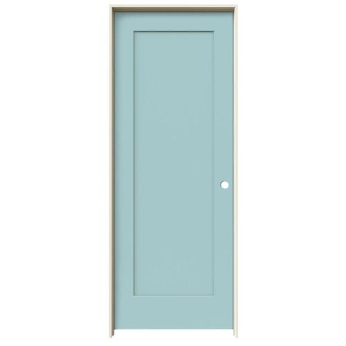 JELD-WEN Madison Sea Mist 1-Panel Square Hollow Core Molded Composite Single Prehung Door (Common: 28-in X 80-in; Actual:...