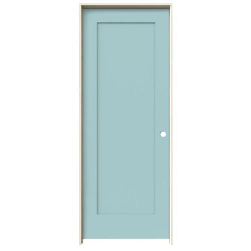 JELD-WEN Madison Sea Mist 1-Panel Square Hollow Core Molded Composite Single Prehung Door (Common: 30-in X 80-in; Actual:...