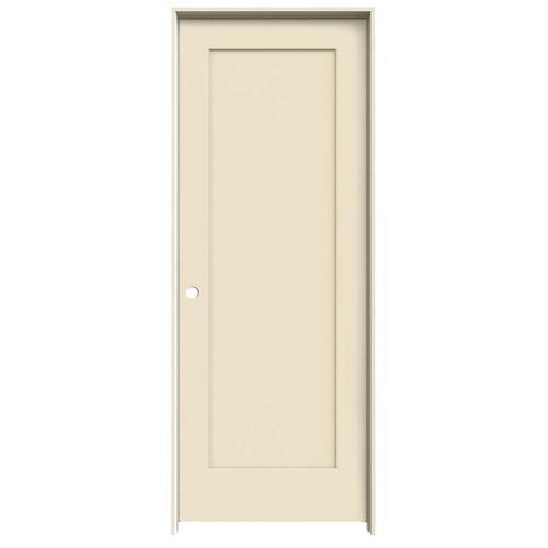 JELD-WEN Madison Cream-N-Sugar 1-Panel Square Solid Core Molded Composite Single Prehung Door (Common: 30-in X 80-in; Actual:...