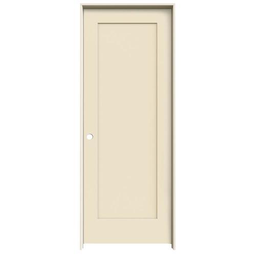 JELD-WEN Madison Cream-N-Sugar 1-Panel Square Solid Core Molded Composite Single Prehung Door (Common: 32-in X 80-in; Actual:...