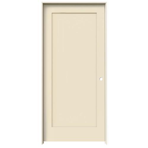 JELD-WEN Madison Cream-N-Sugar 1-Panel Square Solid Core Molded Composite Single Prehung Door (Common: 36-in X 80-in; Actual:...