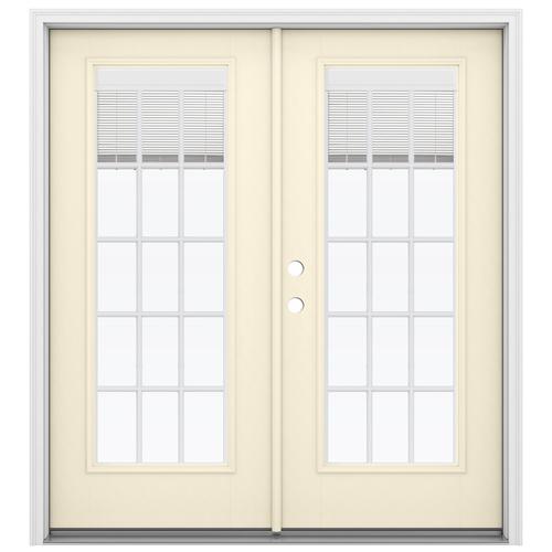 8baa9dff826 JELD-WEN Blinds Between The Glass Bisque Fiberglass Right-Hand Inswing  Double Door French
