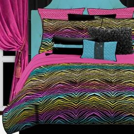 Rainbow Zebra 4-Piece Rainbow Queen Comforter Set 457616