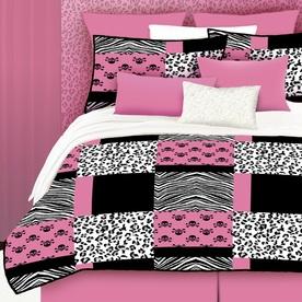 Veratex Pink Skulls 4-Piece Pink Full Comforter Set 457647
