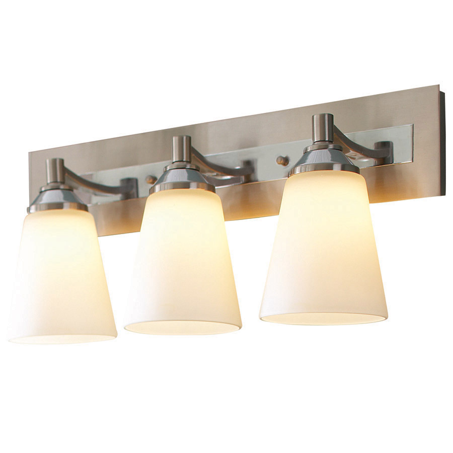 Polished Nickel Bathroom Vanity Light: Shop Allen + Roth 3-Light Brushed Nickel And Polished