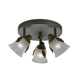 Portfolio Branches 3-Light 9-In Olde Bronze Dimmable Flus...
