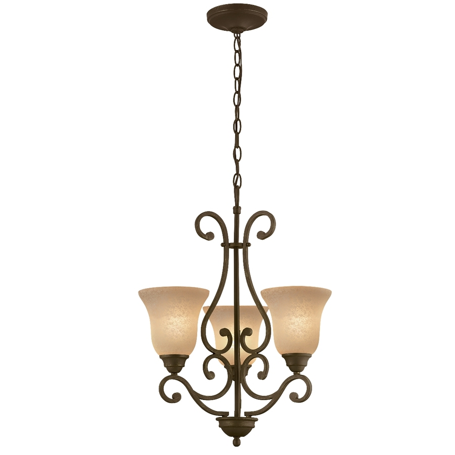 Chandeliers At Lowes: Shop Portfolio Linkhorn 3-Light Iron Stone Chandelier At
