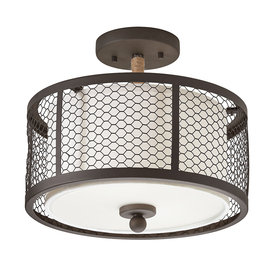 Shop Kichler Lighting 12 99 In W Olde Bronze Fabric Semi