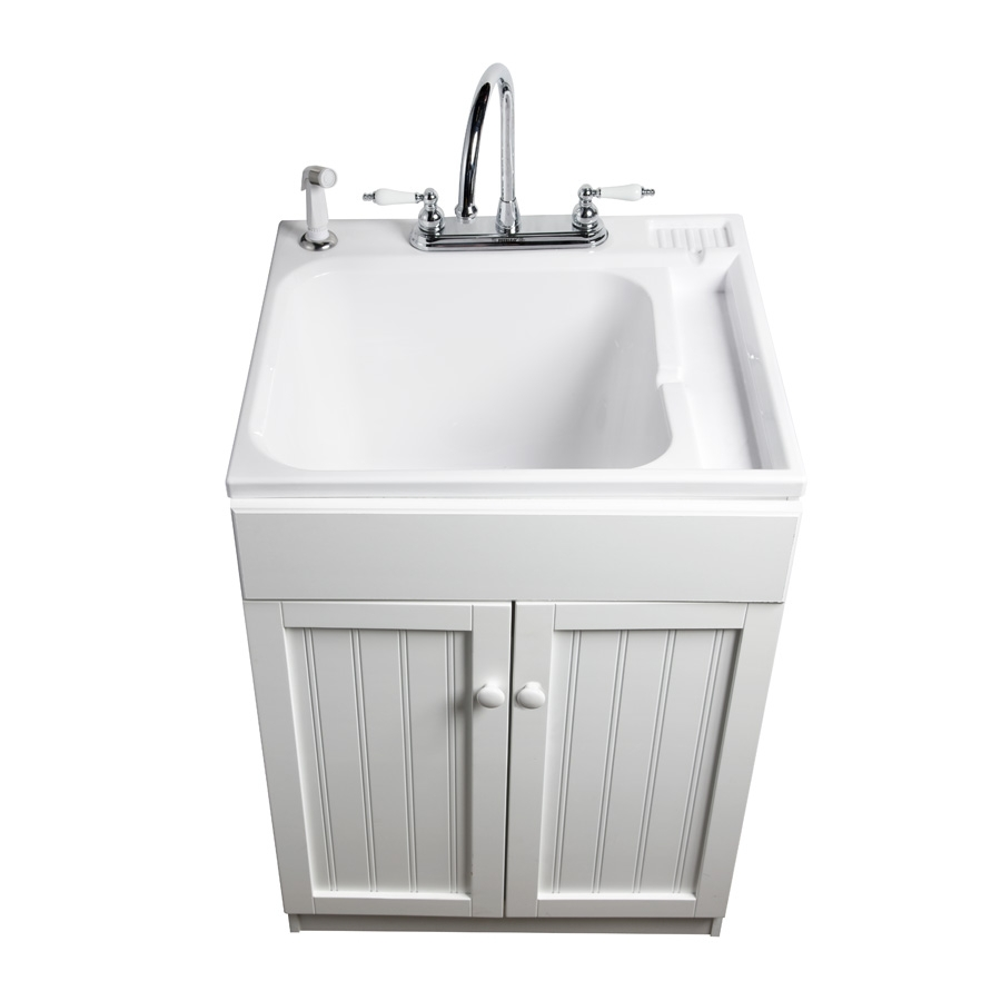 Lowes Sink Cabinets: Shop ASB White Composite Freestanding Utility Tub At Lowes.com